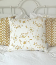 mustard and white meadow flower cushions