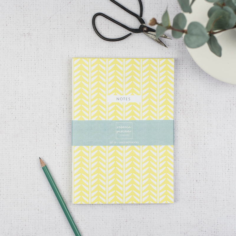 Set of 2 A5 Notebooks - Yellow