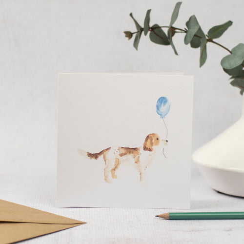 Blank Card with spaniel holding a balloon