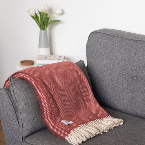 Cranberry Wool Throw Blanket