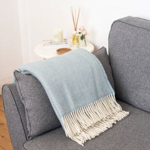 Duckegg Blue Wool Throw Blanket