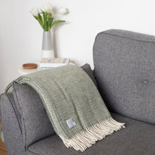 Grey Green Wool Throw Blanket