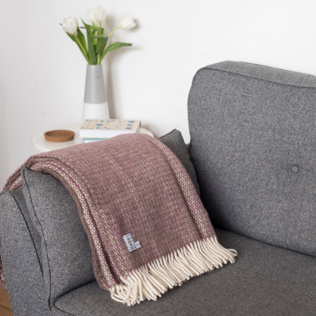Heather Wool Throw Blanket