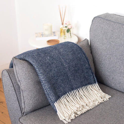 Navy Blue Wool Fishbone Throw Blanket
