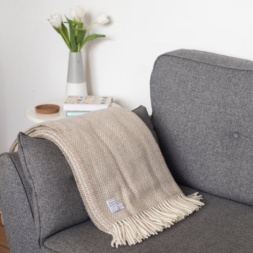 Oatmeal Wool Throw Blanket