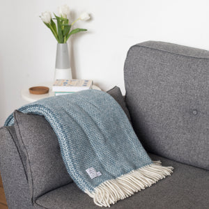 Petrol Blue Wool Throw Blanket