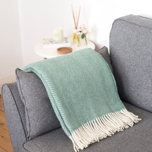Sea Green Wool Throw Blanket