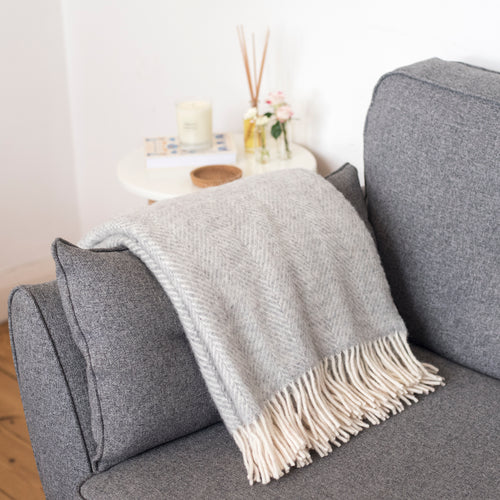 Silver Grey Wool Throw Blanket
