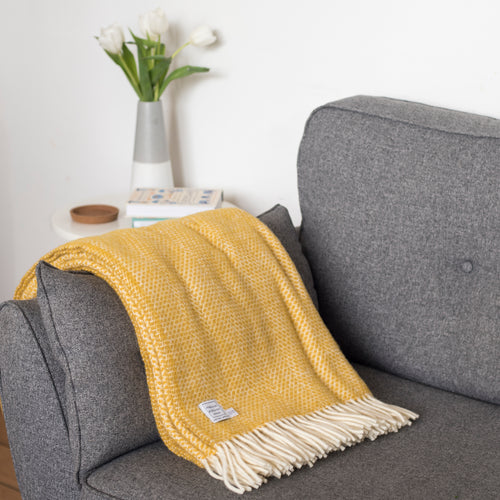 Yellow Wool Throw Blanket
