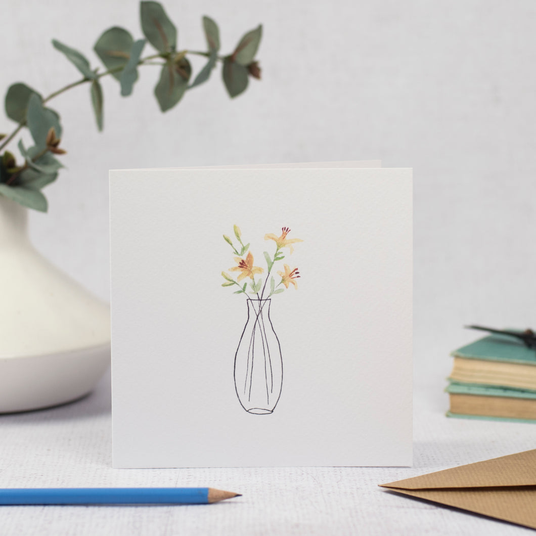 Blank Card with yellow lilies in a vase