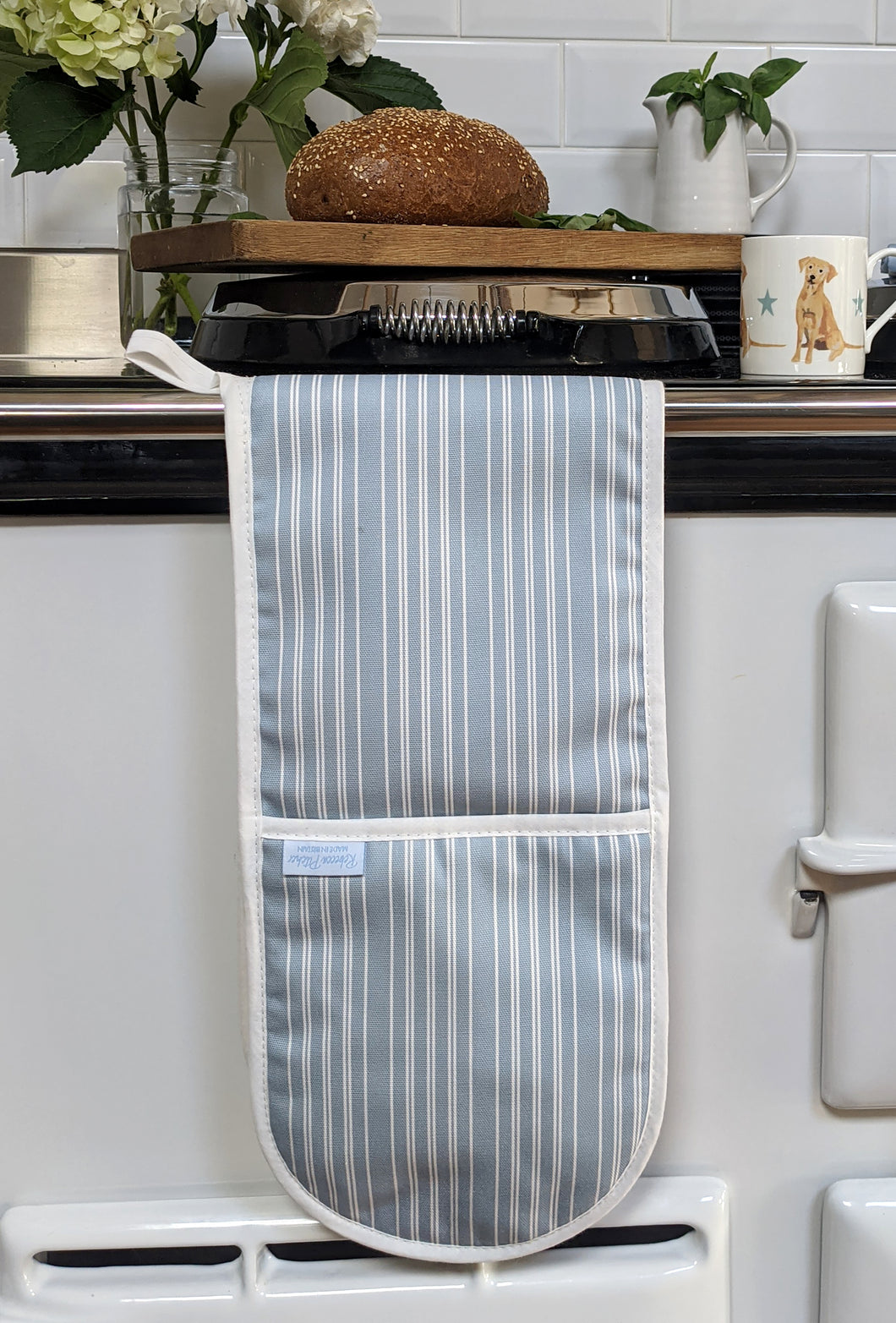 Salt Stripe Blue Double Oven Glove