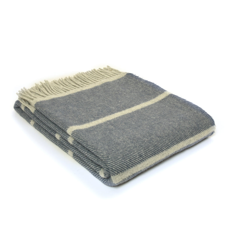 Blue Slate & Grey Stripe Wool Throw