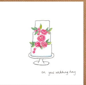 Wedding Card featuring a Wedding Cake illustration and text On Your Wedding Day