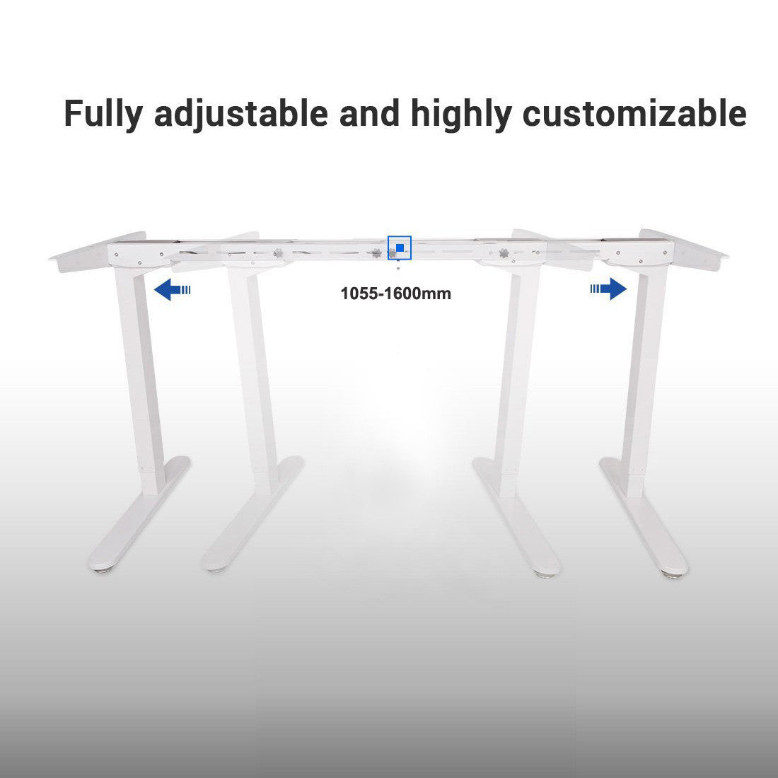 Thingy Club E2B Height Adjustable Electric Standing Desk Frame Only , Solid  Steel Stand Up Desk with Automatic Memory Smart Keypad (White)