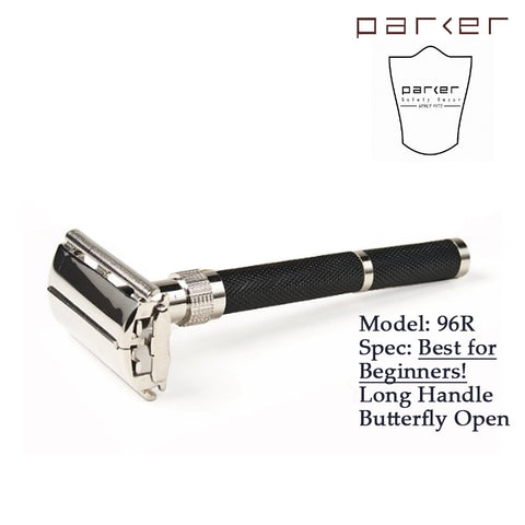 Parker 96R - Long Handle Butterfly Open Double Edge Safety Razor