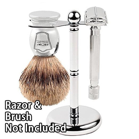 Parker Deluxe Chrome Safety Razor and Shave Brush Shaving Stand