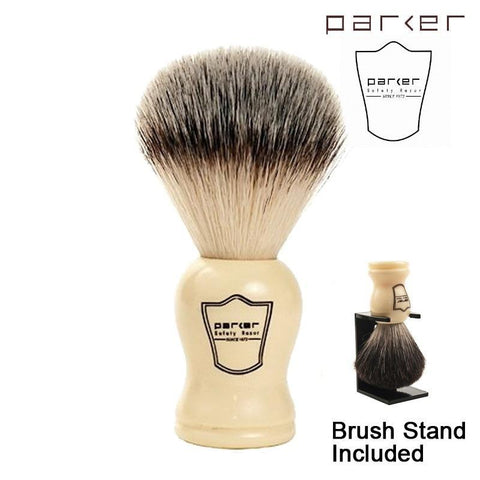 Parker Ivory Handle Synthetic Bristle Shaving Brush with Brush Stand