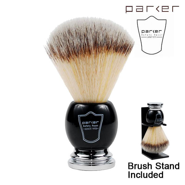 Parker Black & Chrome Handle Synthetic Bristle Shaving Brush with Brush Stand