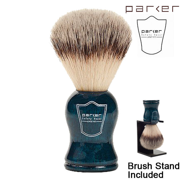 Parker Blue Wood Handle Synthetic Bristle Shaving Brush with Brush Stand