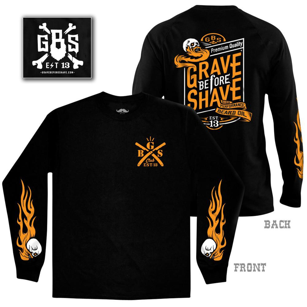 Biker Graphic Long Sleeve Shirt by Grave Before Shave - S'pore Mens Grooming Webstore - SGPomades.com