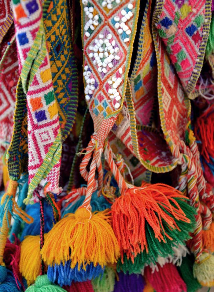 Peruvian Pom Poms: Traditionally Woven Belts with Woolen Pom Poms