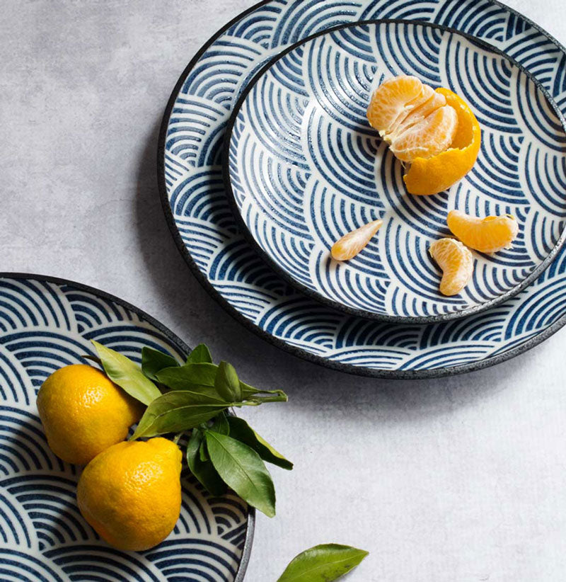 Satsumas and Seigaiha Plates