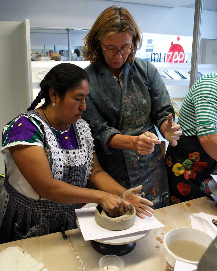 Oaxacan artisan Rufina Ruiz during a workshop in  the Biennial of Ceramics in Andenne, Belgium