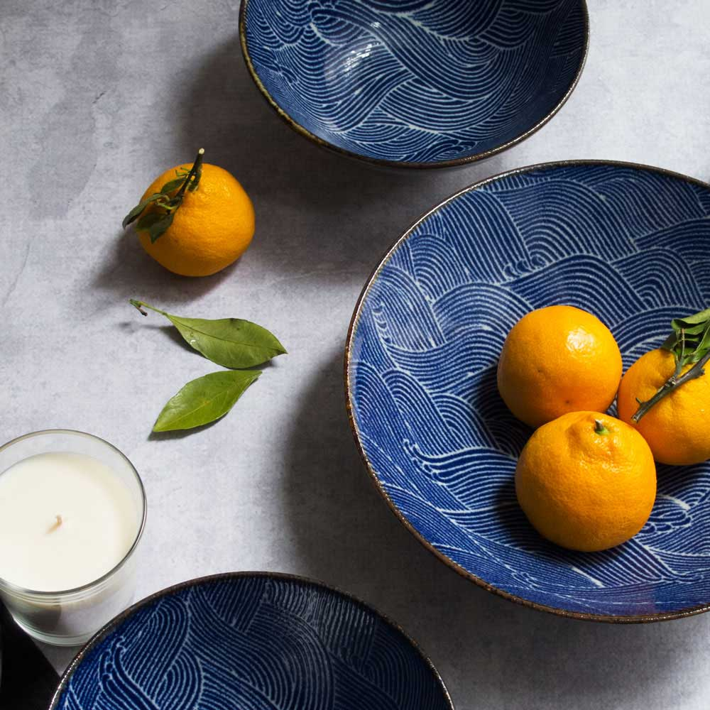 Aranami Blue Wave Bowls, Bougies la Francaise Scented Candle, and Satsumas