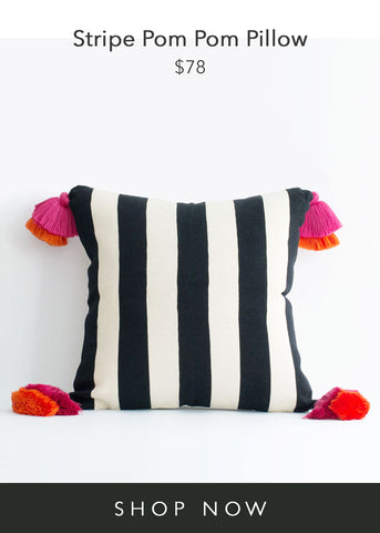 Pais Textil Stripe Pom Pom Pillow