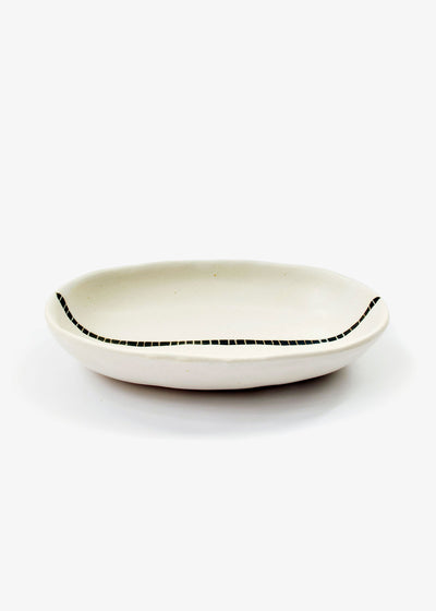 Japanese Ceramics Ivory Tracks Oval Dish