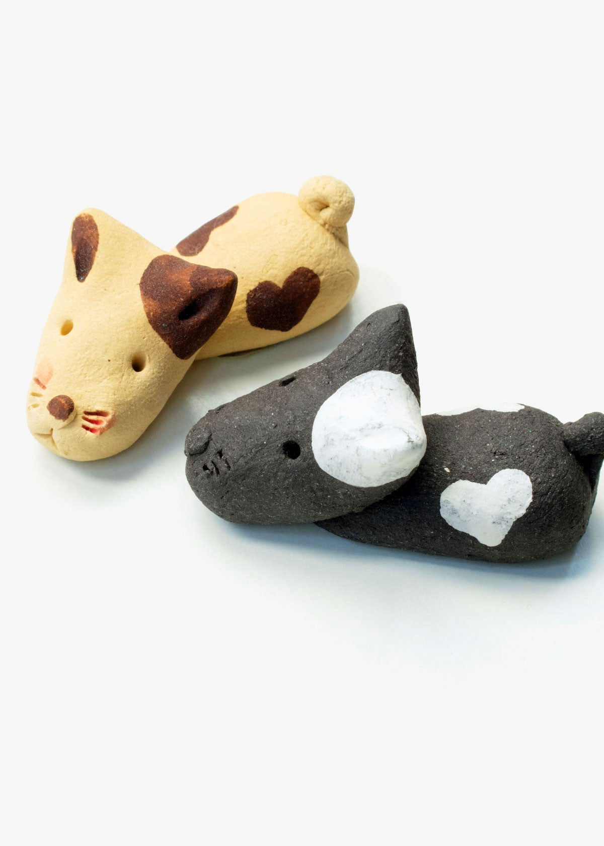 Painted Clay Dog Chopstick Rest Set
