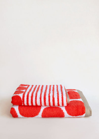 Red Cobble Cotton Terry Towel, Imabari, Japan