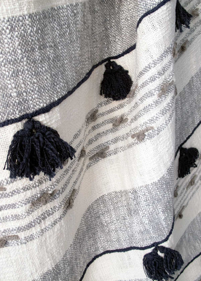 Grayscale Tassel Throw