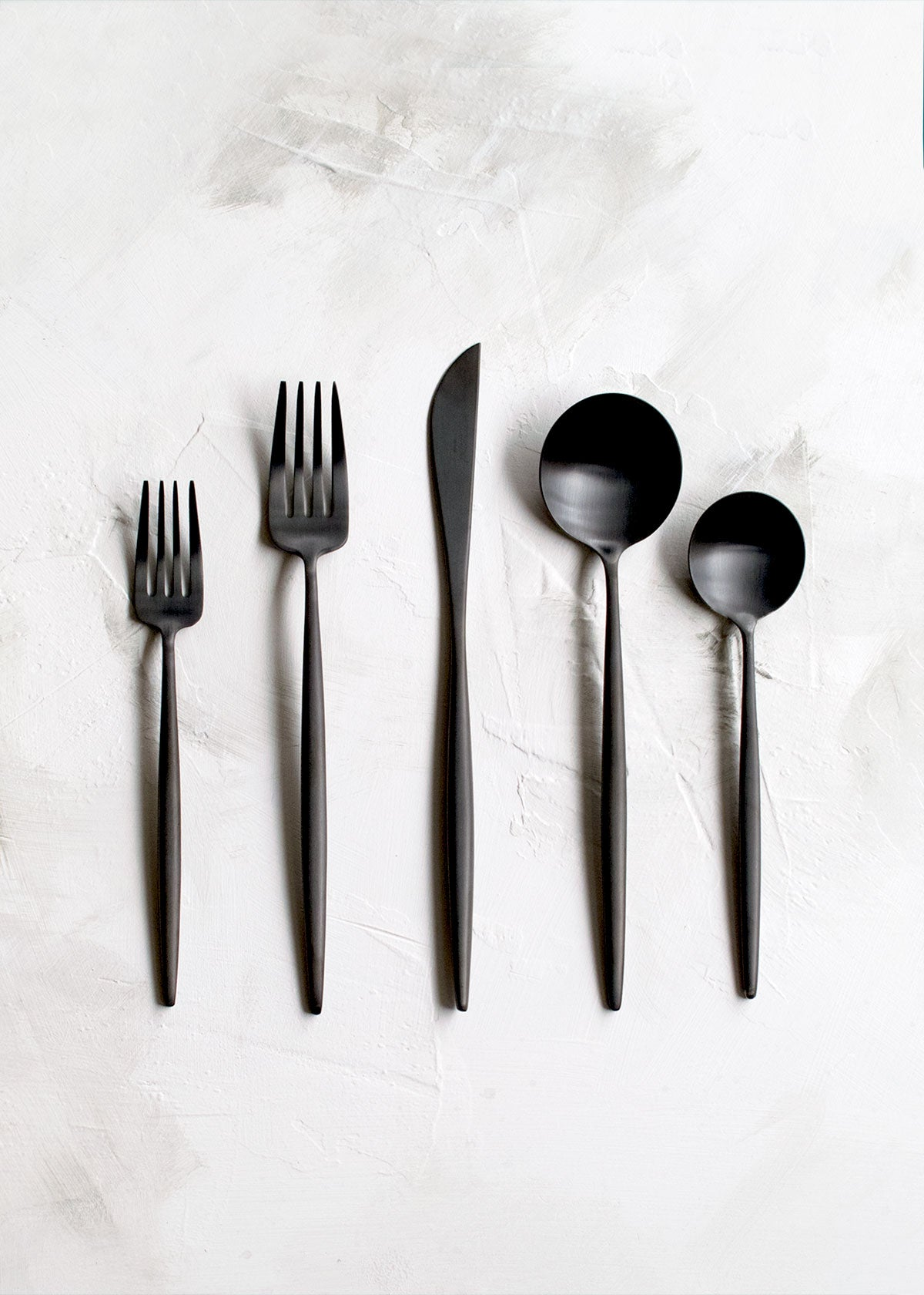 Cutipol Moon Flatware 5pc Set, Matte Black