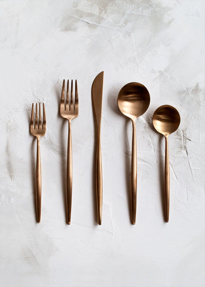 Cutipol Moon Flatware 5pc Set, Brushed Copper