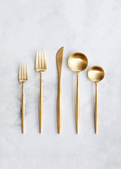 Cutipol Moon Flatware 5pc Set, Brushed Gold