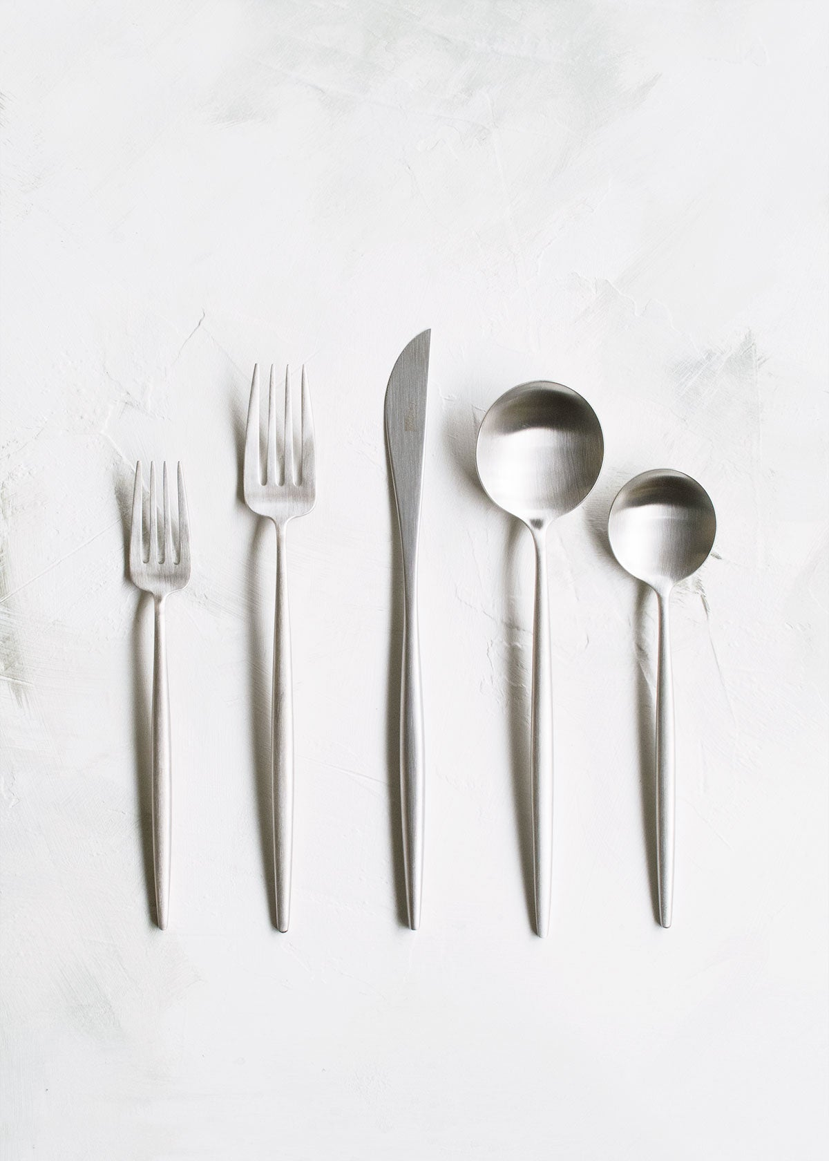 Cutipol Moon Flatware 5pc Set, Brushed Steel