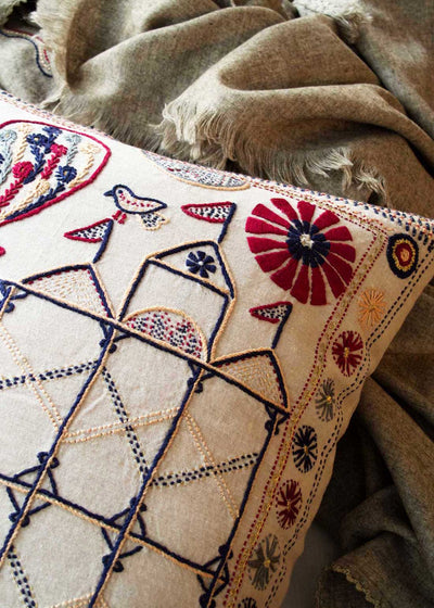 Indus Heritage Trust Folklore Embroidered Pillow