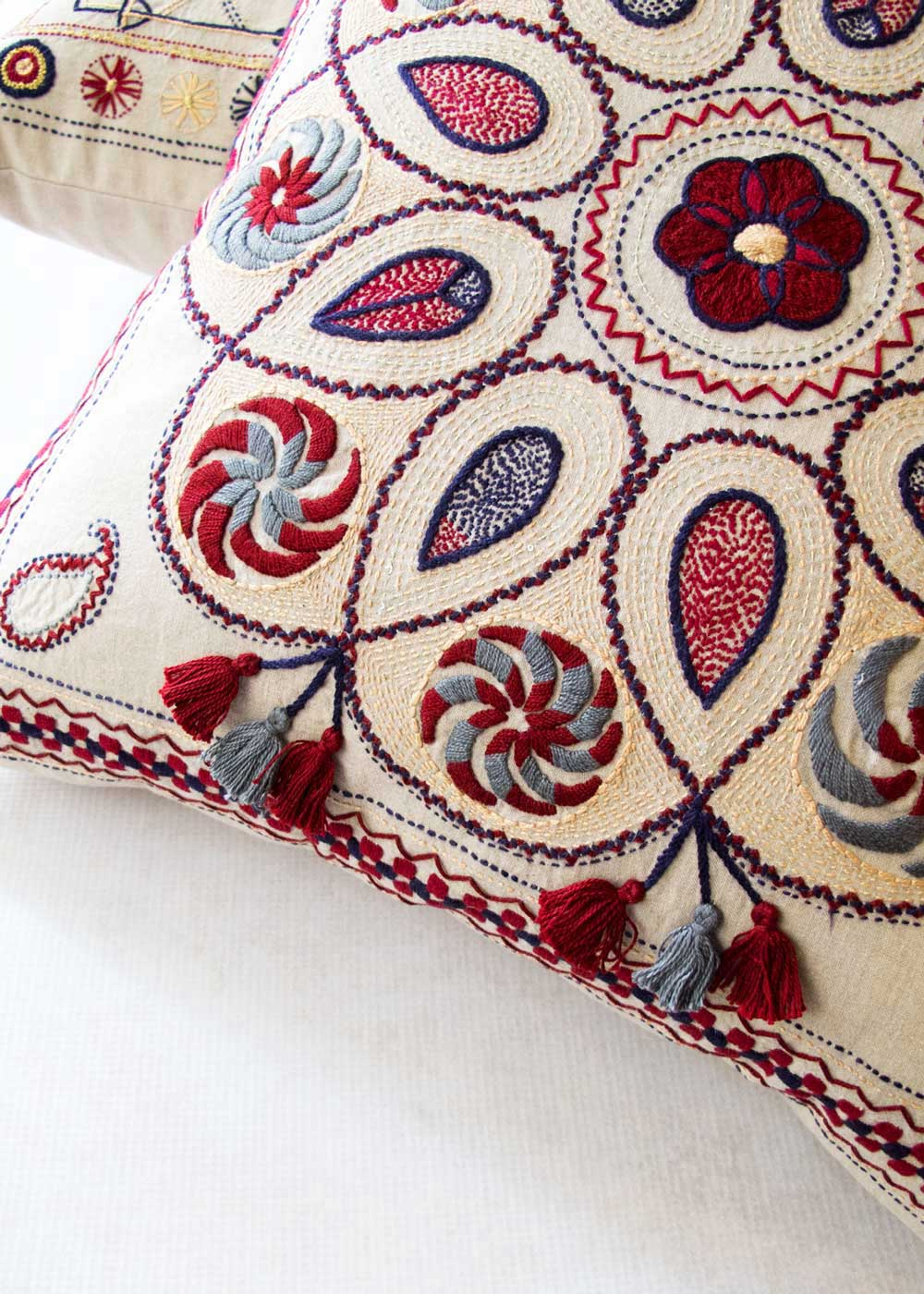 Indus Heritage Trust Dahlia Embroidered Pillow