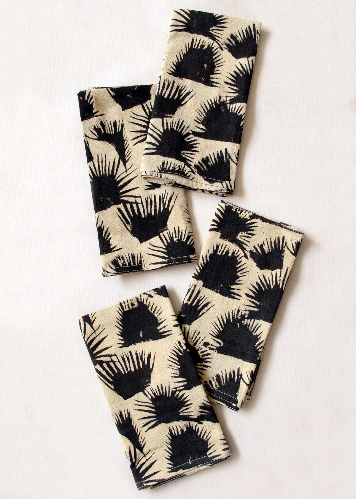 Block Printed Organic Cotton Palm Shade Napkin Set of 4