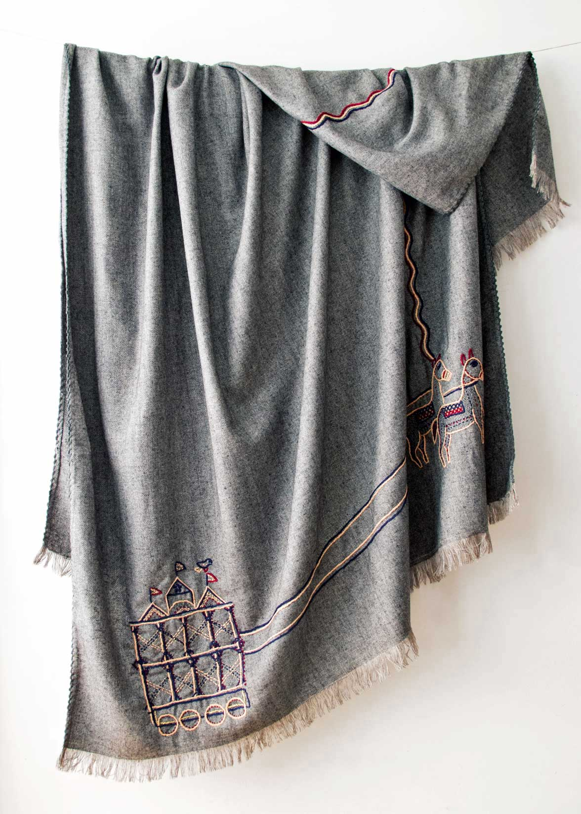 Indus Heritage Trust Folklore Embroidered Wool Throw