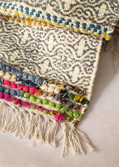 Jute Pom Rug, Handcrafted in India