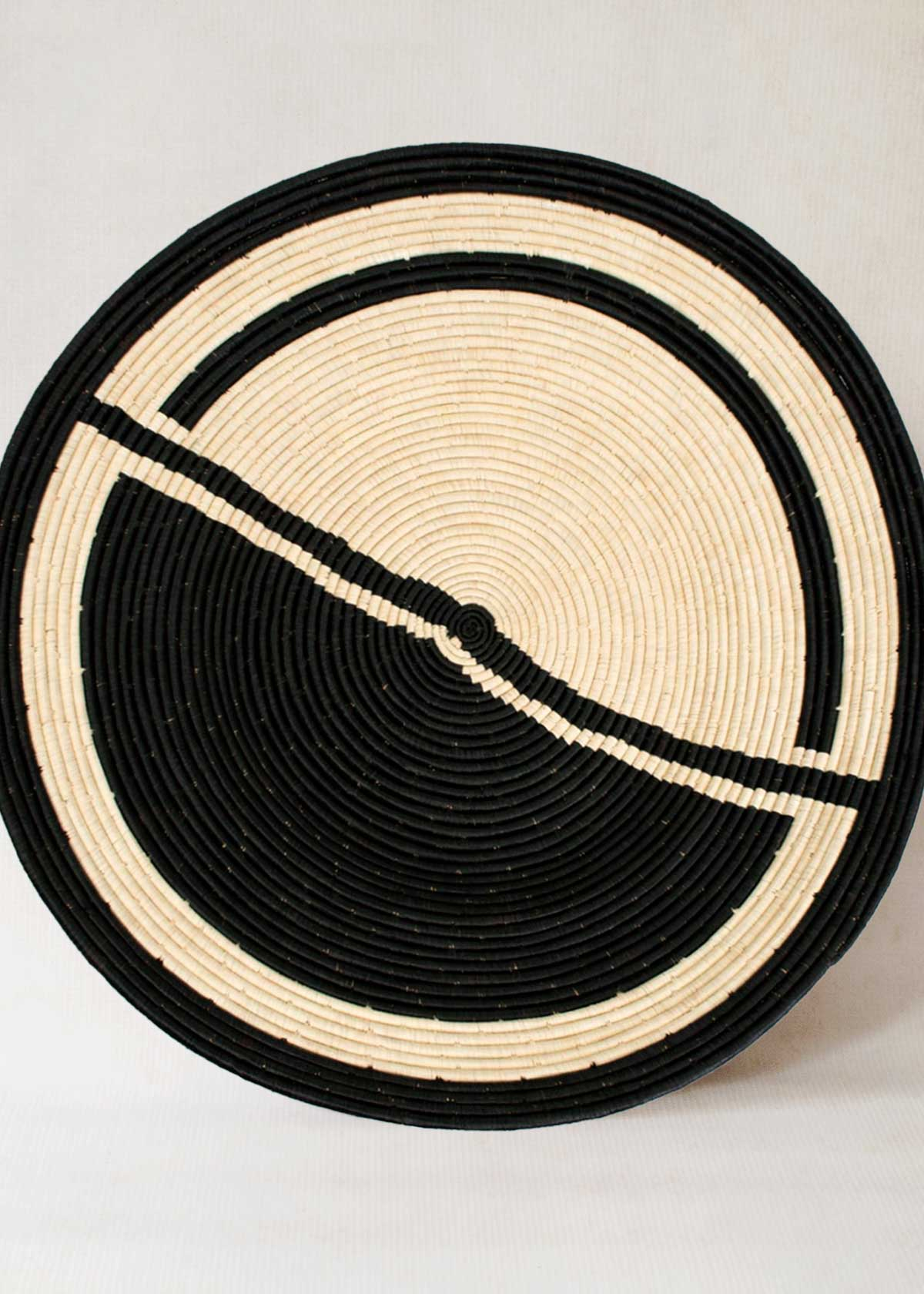 African sweetgrass and raffia wall hanging plate