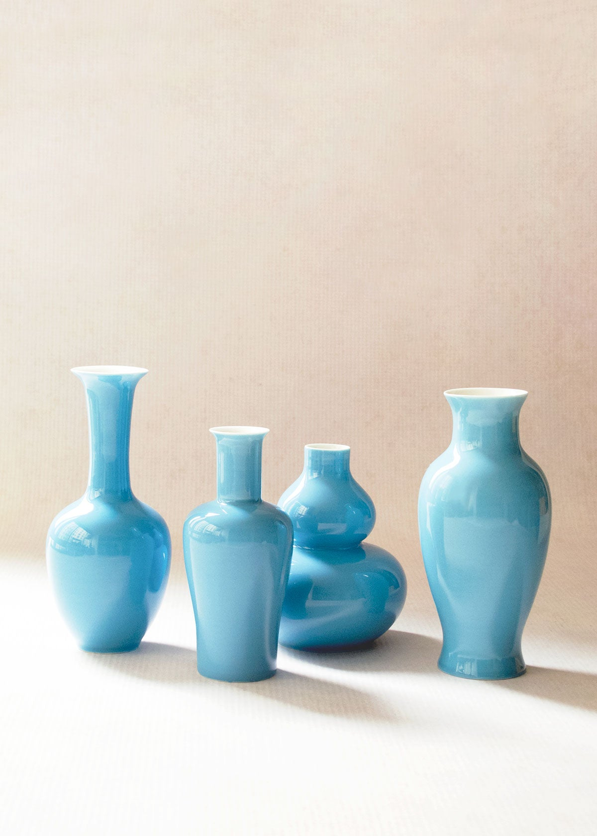 Middle Kingdom Porcelain Mini Vases, Turquoise