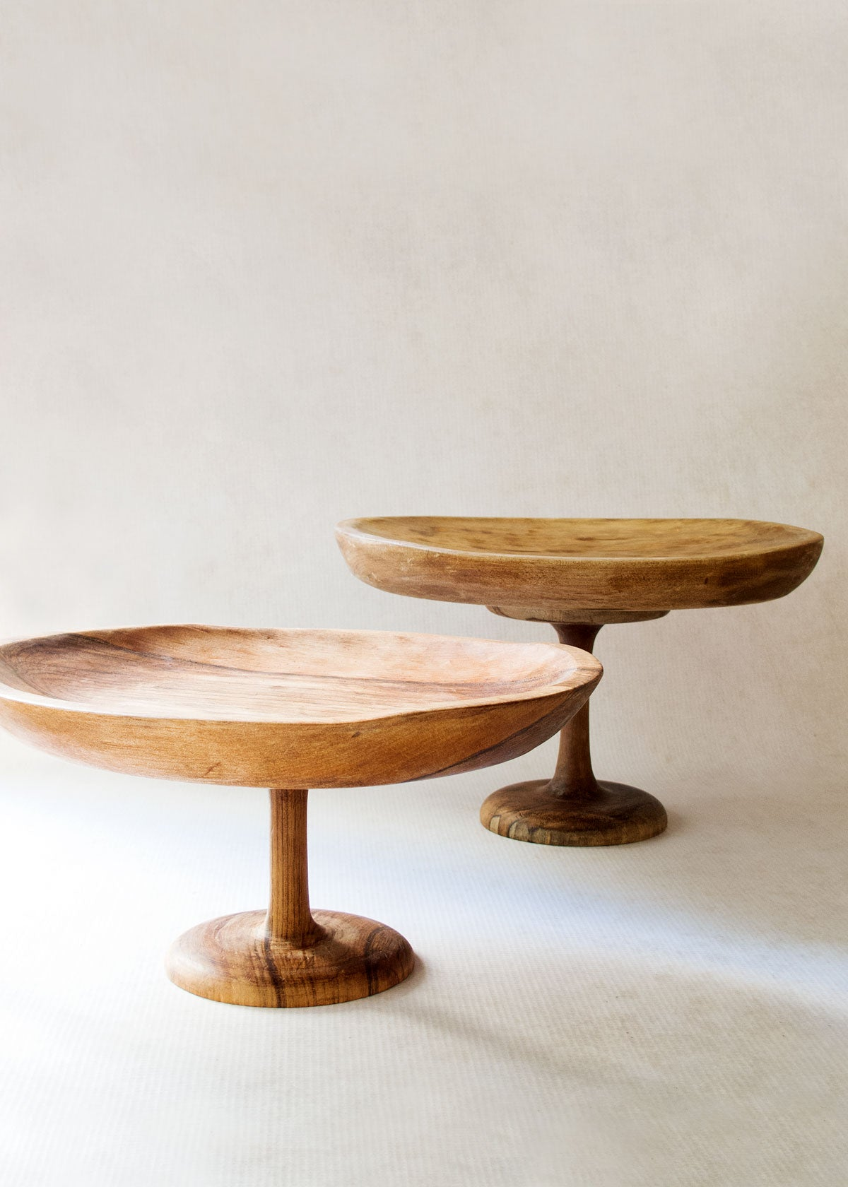 Teak Wood Hand Carved Cake Stand