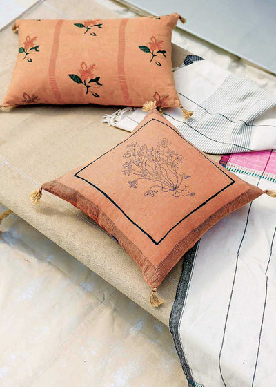Soil to Studio Chhavi Block-Printed Linen Pillow