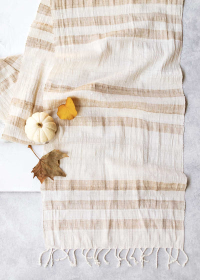 Raw Silk Table Runner, Vanilla
