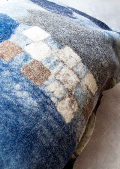 Seaside Improvisation Felted Wool Pillow, by unnu
