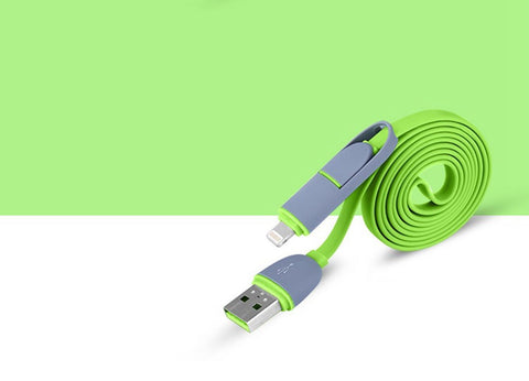 Tangle resistant 2 in 1 Lightning & Micro-USB Charge and Sync flat Cable green combo case
