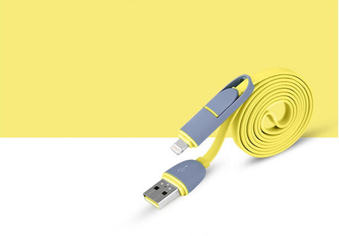 Tangle resistant 2 in 1 Lightning & Micro-USB Charge and Sync flat Cable yellow combo case